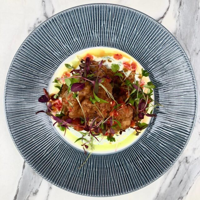 *New Dish Alert*  Curry battered cauliflower with buttermilk raita.  - Vegan option available -  #brightonchefs #brightonvisitor #brightonvegan