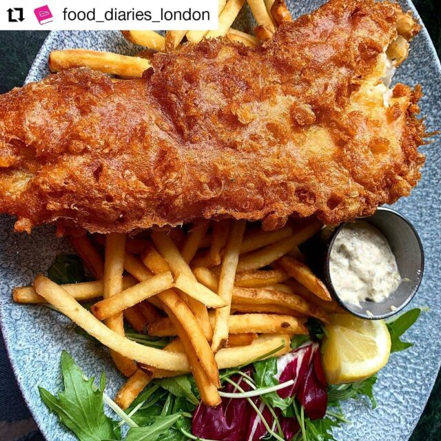 'Delicious fish and chips... I was super happy'. Repost: @food_diaries_london